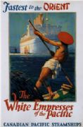 Vintage Travel Poster Canadian Pacific- fastest to the orient